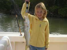 Sofie and her Snook in Pumpkin Bay - Marco Island Fishing Charters
