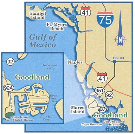 Map of Goodland, Florida - Fins-N-Grins Charter Fishing
