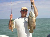 Triple Tail fish caught by angler on Marco Island aboard Fins n Grins charter fishing boat